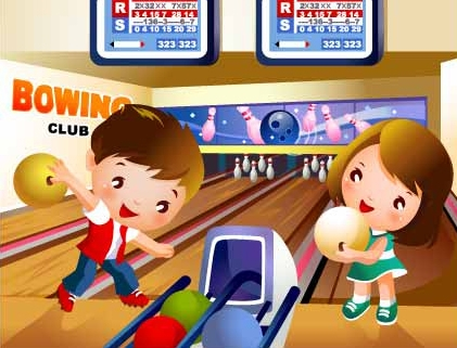 children-s-bowling-motion-vector-material-17442